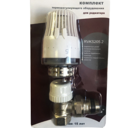 Комплект TIM вентиль угл. 1/2 c термоголовкой для радиатора (ME402)